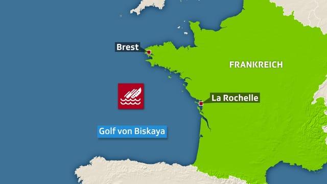 Karte Golf von Biskaya