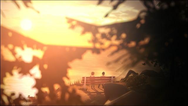 Max und Chloe sitzen im Sonnenuntergang auf einem Bänkchen am Meer.