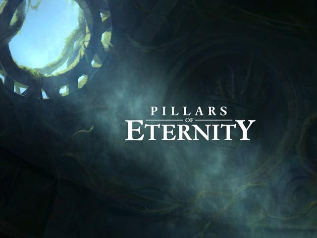 """Ein Rund in einem Gewölbe, durch das die Sonne einfällt. Der Schriftzug """"Pillars of Eternity""""."""