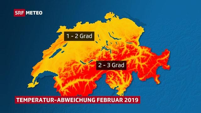 Schweizer Karte, die Temperaturabweichung von der Februar-Norm zeigt.