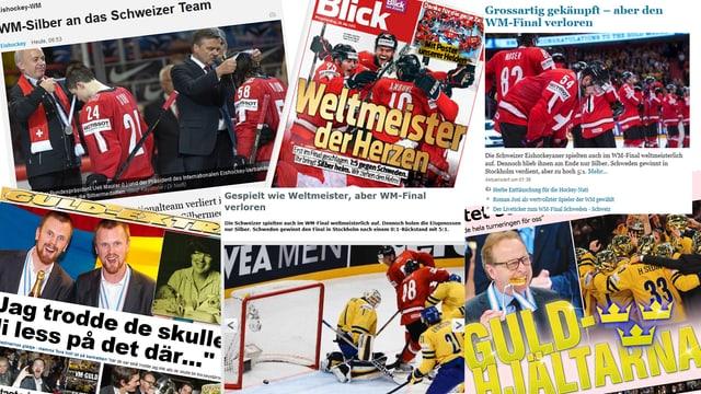 Die Schweizer und die schwedischen Medien feiern ihre Teams.