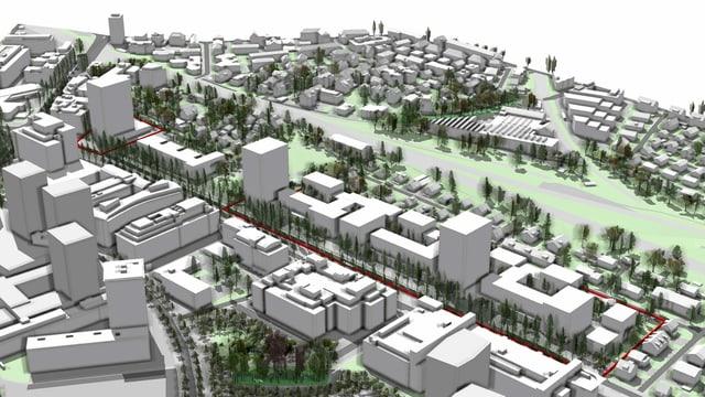 Visualisierung der geplanten Zürcher Grossüberbauung Thurgauerstrasse.