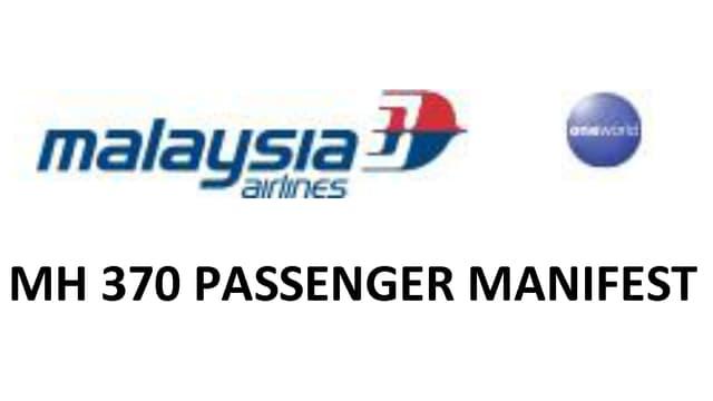 Bild der Kopfzeile auf der Passagierliste von Malaysia Airlines.