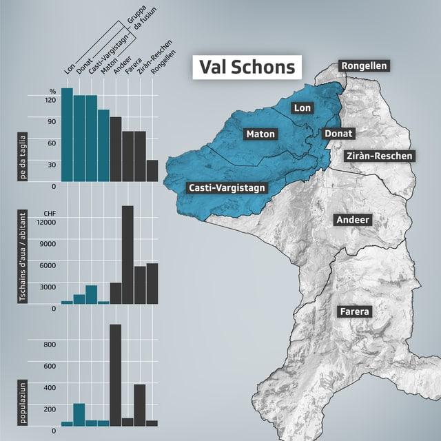 Visualisaziun da la Val Schons e las vischnancas che vulan fusiunar e quellas che na vulan betg.