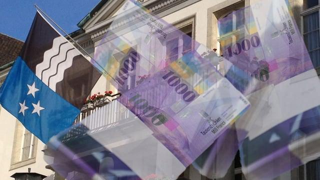 Das Aargauer Grossratsgebäude mit Geldnoten davor.