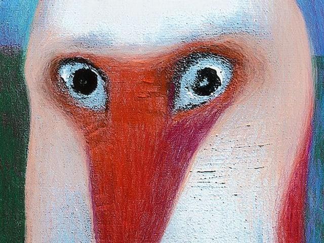 Bild von weissem Vogel mit rotem Schnabel.