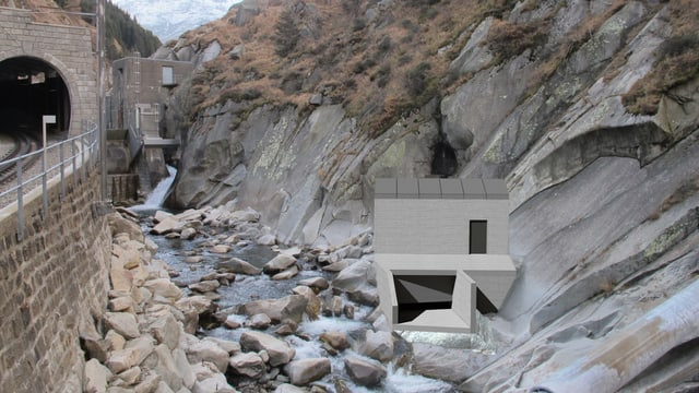 Visualisierung eines kleinen Wasserkraftwerks.