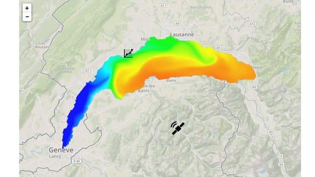 Temperaturkarte des Genfersees.