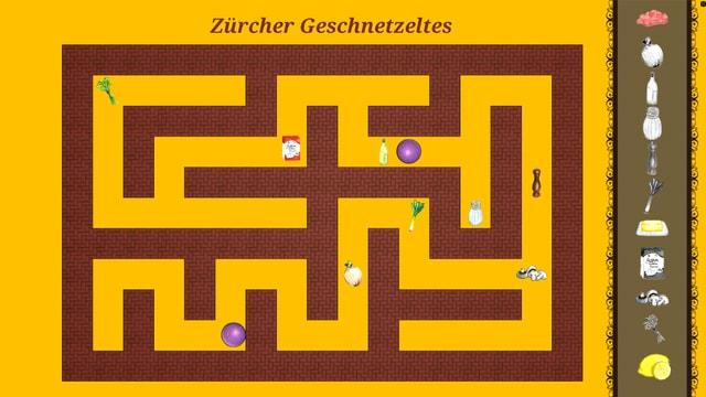 Oberfläche eines Computerspiels mit Labyrinth