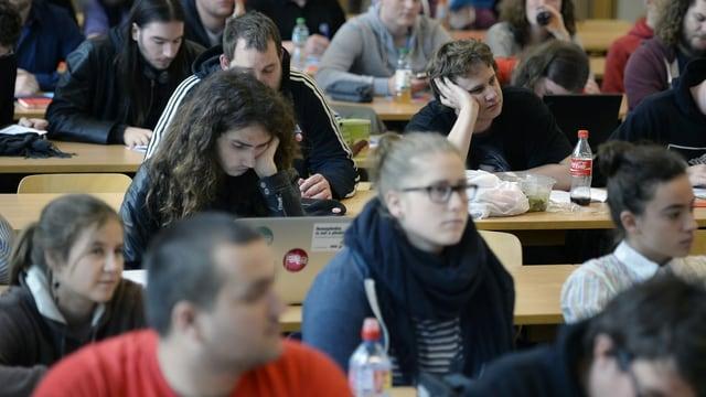 Junge Männer und Frauen sitzen in Reihen an Tischen