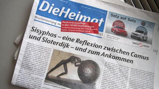 Die Titelseite der letzten Ausgabe der Heimat ist eine Skulptur der griechischen Figur Sisyphos zu sehen.