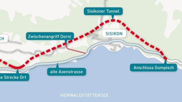 Ein Plan mit Linienführung der Axenstrasse.