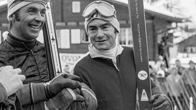 Dumeng Giovanoli (rechts) an der Seite von Karl Schranz beim Riesenslalom von Adelboden 1970.
