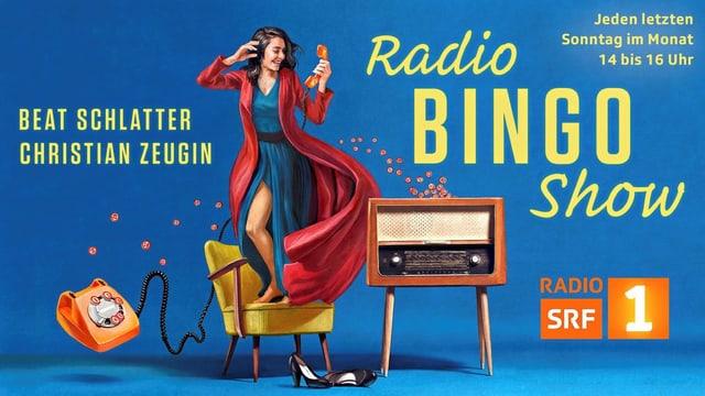 Frau auf Stuhl, fliegendes Telefon, Radio mit Bingozahlen, auf blauem Grund.