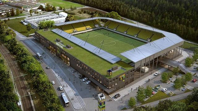 Visualisierung des neuen Schaffhauser Fussballstadions.