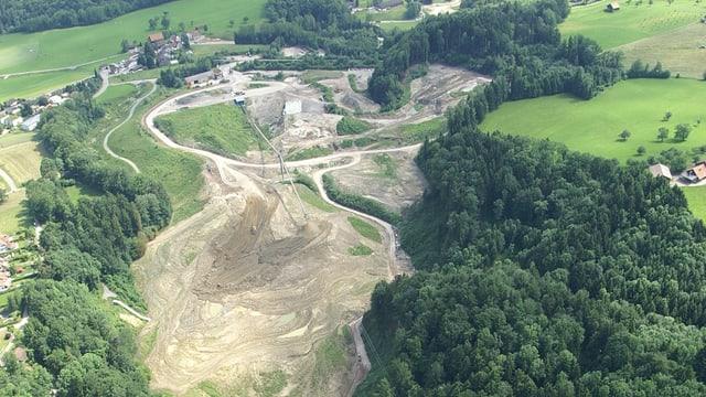 Deponie Tüfentobel in St. Gallen. Aufnahme von oben.