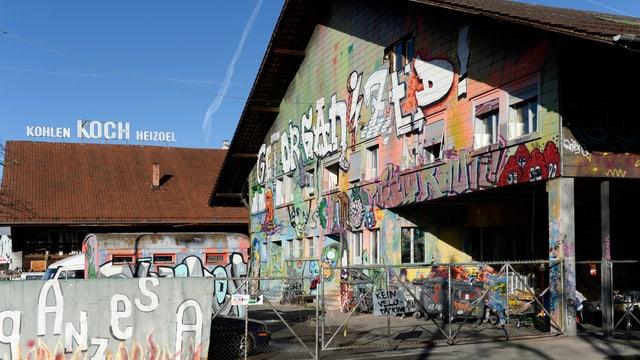 Besetztes Koch-Areal in der Stadt Zürich