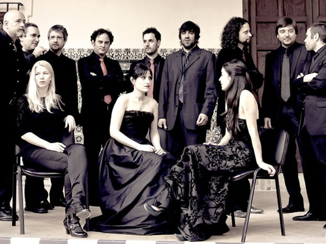 Ein 12-köpfiges Ensemble in Konzertbekleidung. Die drei Frauen sitzen im Vordergrund, dahinter stehen die Männer.