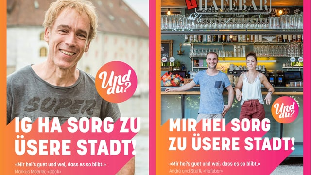 Plakate mit Solothurner Gastronomen.