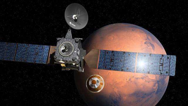 Die europäisch-russische Marsmission: Im Vordergrund der Orbiter, der den Mars umkreisen wird. Unten in der Mitte die Sonde Schiparelli.