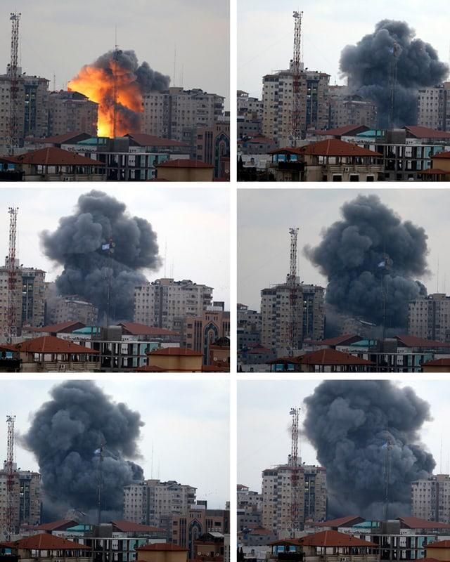 Explosion und Staubwolke in den sechs Bildern des Einsturzes des Wohnblocks.