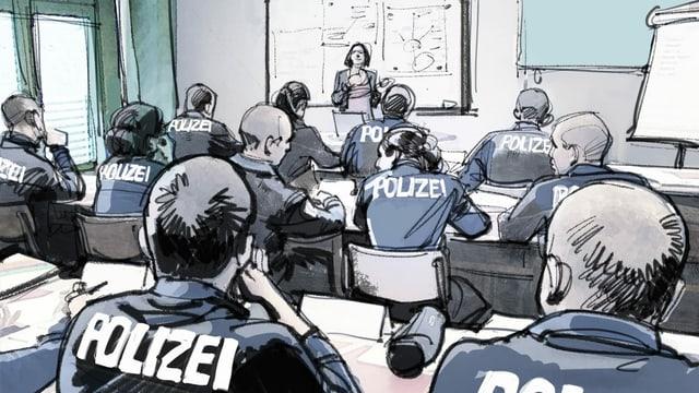 Illustration: Polizisten sitzen im Unterricht