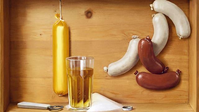 Ein gezeichnetes Stillleben mit Aargauer Sonntagswurst, Blutwurst- und Leberwürsten inklusive einem Glas Rivella.