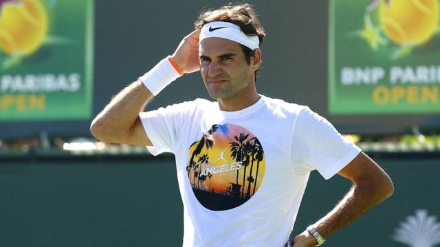 Roger Federer während des Trainings in Indian Wells.