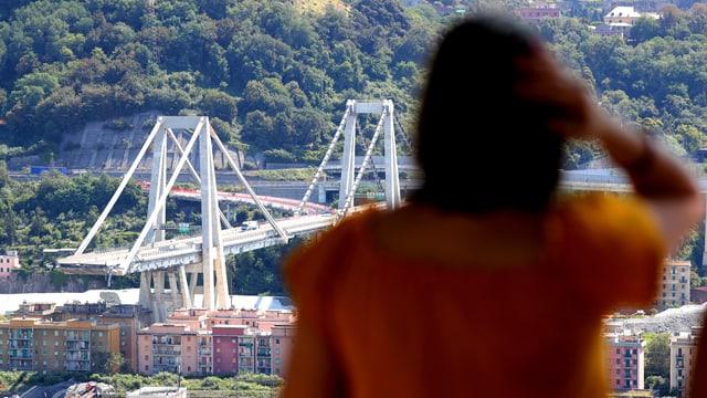 Bild der eingestürzten Brücke. Im Vordergrund eine Frau, die sich an den Kopf fasst.
