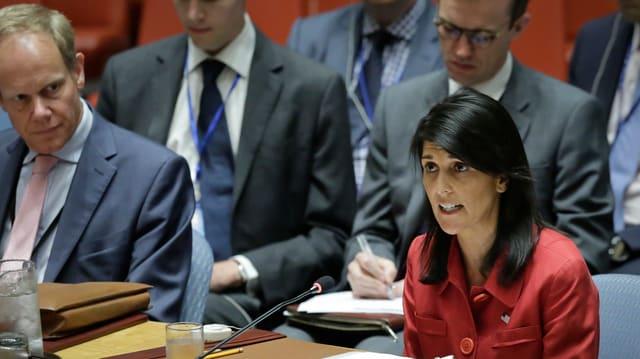 Die US-Botschafterin bei der UNO im Saal des Sicherheitsrats.
