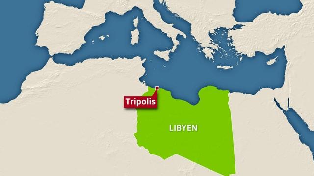 Eine Karte von Libyen mit der Hauptstadt Tripolis