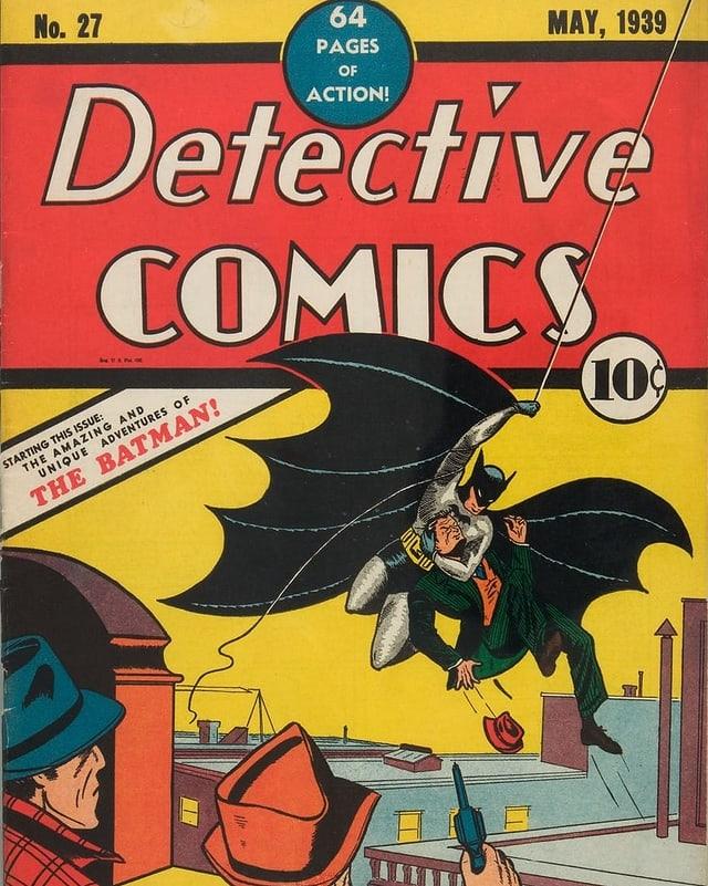 Titelseite eines Comichefts: Batman schwingt sich an einem Seil und greift einen Mann