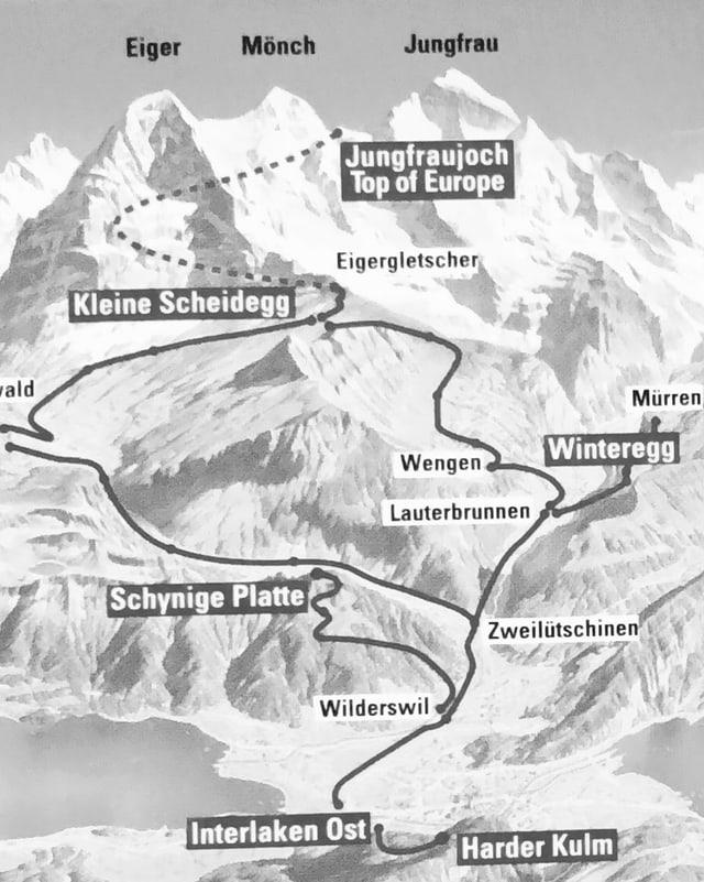 Karte mit Eisenbahnrouten in der Eiger, Mönch und Jungfrauregion