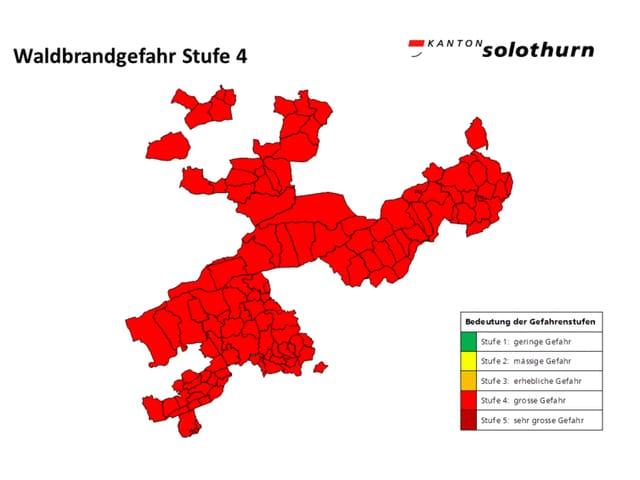 Karte des Kantons Solothurn, rot eingefärbt.