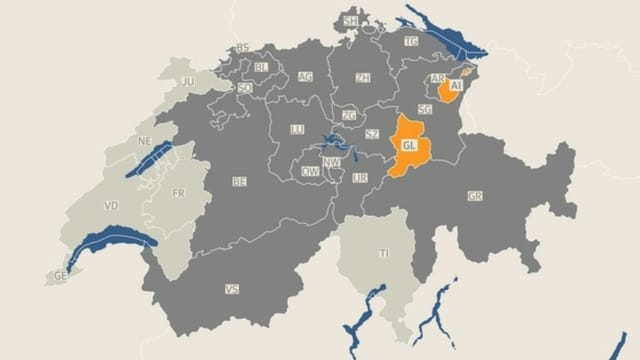 Eingefärbte Schweizerkarte