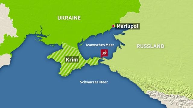 Im Meer vor der Halbinsel Krim versperrten die Russen drei ukrainischen Schiffen den Weg.