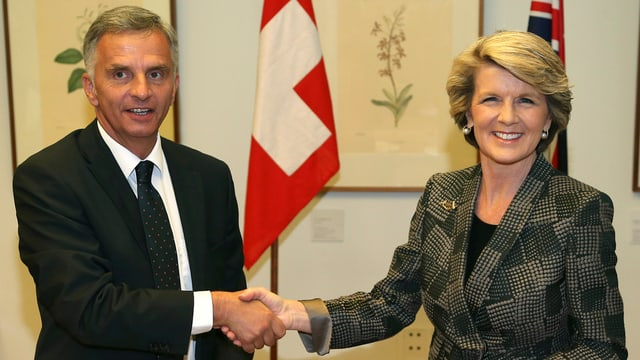 Il minister da l'exteriur Didier Burkhalter e sia collega d'uffizi austraiana, Julie Bishop.