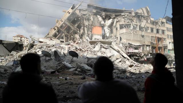 Zu sehen eine Ruine in Gaza.