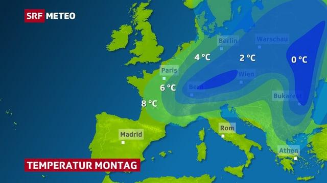 Flächig dargestellt die Kaltluft über Europa am Montag.