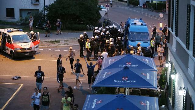 Polizei auf dem Binz Areal