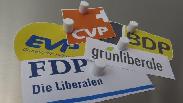 Logos der Mitte-Parteien