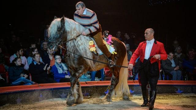 Mike Müller sitzt noch knapp auf einem Ross in der Zirkusarena