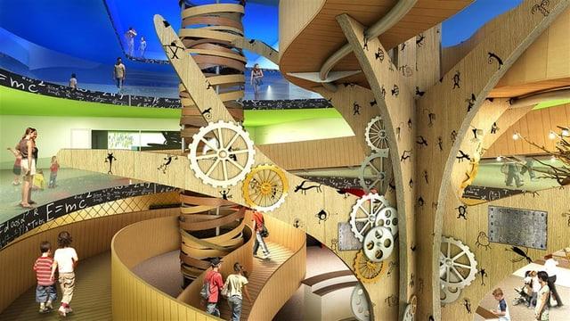 """Visualisaziun da l'entrada da la """"Kindercitiy"""" en il center da Stenna."""