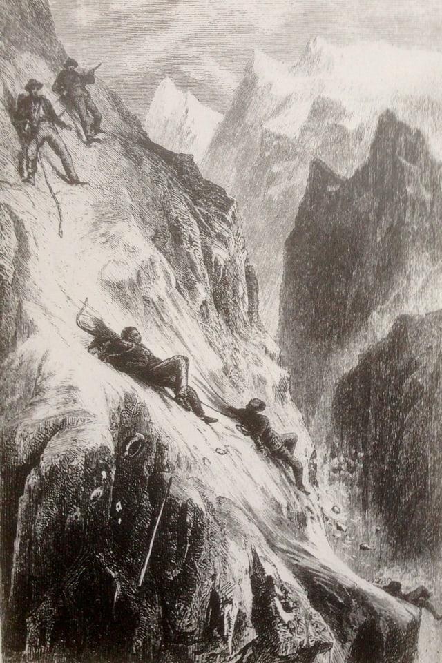 «Das Unglück am Matterhorn», Holzstich nach Zeichnung von E. Heyn und F. Specht.