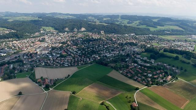 Die Stadt Burgdorf aus der Luft.