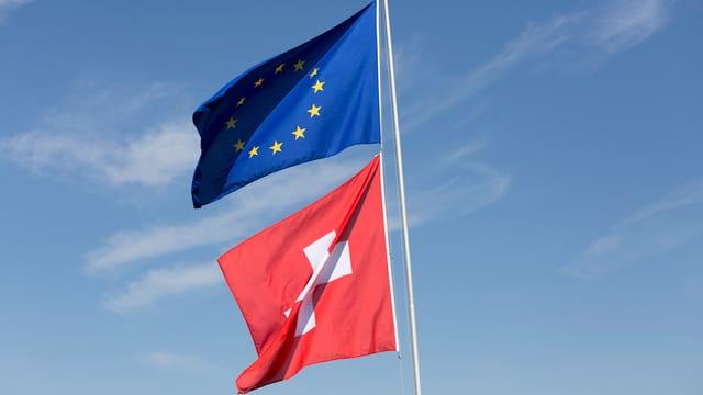 Ina bandiera da la Svizra ed ina da l'UE.