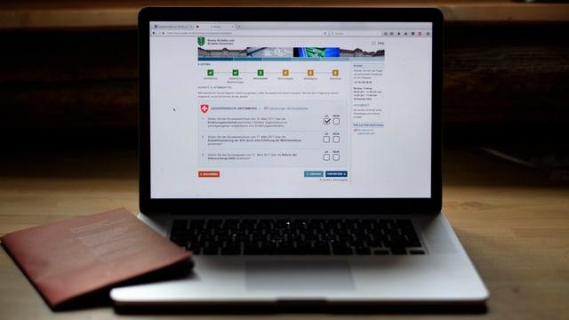Laptop cun cudesch da votar.