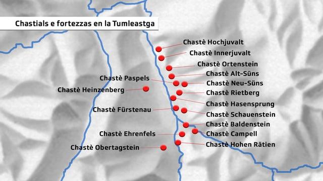 Grafica che mussa ils chastels e fortezzas en la Tumleastga.