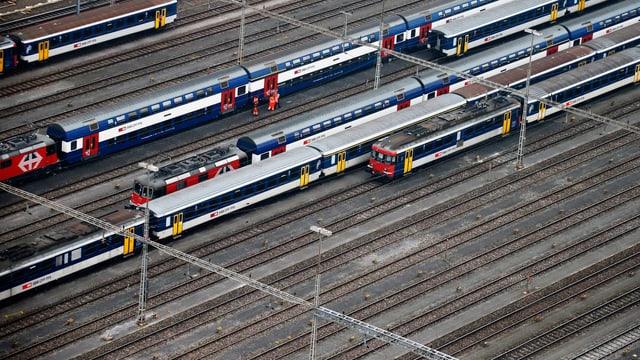 Züge auf Gleisen