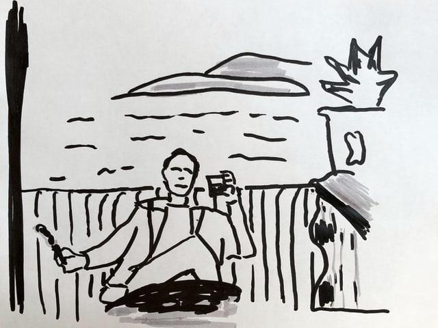 Commissario Montalbano sitzt auf seiner Terrasse mit einem Whisky in der Hand und einer Zigarette